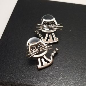 Signed Best Silver Tone Cat Feline Kitty Earrings